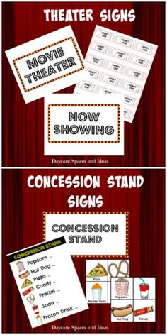 Dramatic Play printables included in the Daycare Spaces and Ideas Movie Theater Printable Pack