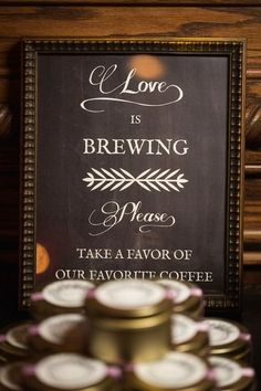 "Fall wedding favor idea - ""Love is brewing"" with tins of coffee {Grace Hill Photography}"