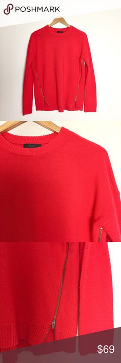 J. Crew Lambswool Zip Sweater in Red Adorable and cozy side zip lambswool sweater with rib trim at the neck, cuffs, and hem.  Only worn once. Like new condition                 Lambswool in a 7-gauge knit. Dry clean. Item B1252. J. Crew Sweaters Crew & Scoop Necks