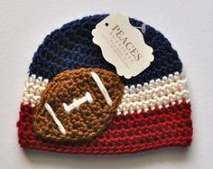 Football Beanie Navy Blue & Tan Baby Football by peacesbycortney