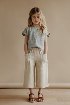 cecile culottes in oatmeal with lou shell top in stripe kids fashion, kids style, casual su. Outfits Niños, Baby Outfits, Cute Kids Outfits, Newborn Outfits, Toddler Outfits, Little Girl Outfits, Little Girl Fashion, Toddler Fashion, Child Fashion