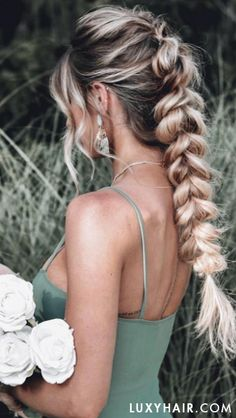 How gorgeous is this pull-through braid with Luxy Hair extensions on French Braid Hairstyles, Box Braids Hairstyles, Cute Prom Hairstyles, Hairstyle Braid, Hairstyle Ideas, Pink Hairstyles, Fashion Hairstyles, Hairstyles 2018, Celebrity Hairstyles