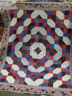 """Pattern from Bonnie Hunter http://quiltville.com/pdf/Fourth%20of%20July.pdf  Snowball Block Quilt  by """"Kathy T"""" from the quiltingboard.com"""