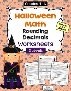 These 3 Halloween themed Decimal Worksheets are differentiated and cover Rounding Decimals. Students are asked to round decimals to whole numbers, to the tenths place, and to the hundredths place. These worksheets would be great for Halloween Themed Math Centers, Homework, October Morning Work, Review, or Test Prep. They'd also be great for sub plans! Answer Keys are included for easy grading.