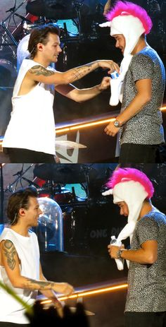 Sorry I just had to pin this. He's like just so happy that he could fit a water bottle in the paw of Liam's unicorn hat. It's just... So... Adorable