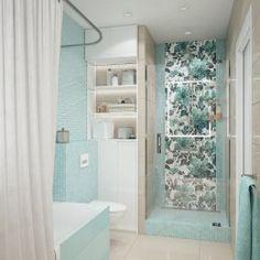 Студия LESH   Мятная ванная комната с акцентной стеной в душе