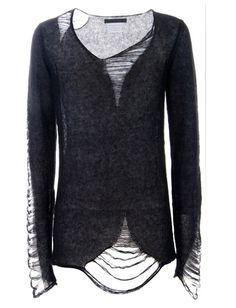 Distressed sweater. #fashion #diy