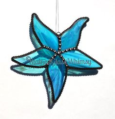 Stained Glass STARFISH Suncatcher -- Wispy, Rainbow Iridescent Turquoise, Decorative Soldering, USA Handmade, Turquoise Starfish, Sea Star