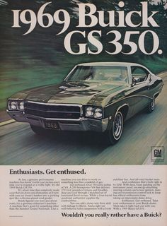 1969 Buick GS350 Classic Car Ad Vintage by AdVintageCom on Etsy