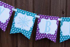 Frozen Inspired Birthday Banner  Winter Wonderland Birthday Party by TangerinePaperShoppe, $20.00 Purple, Teal and light blue