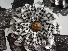 Houndstooth and Music Note flower with vintage by WyldBloomz