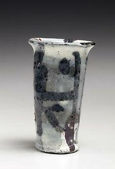 Koie Ryôji: White narrow sake cup with black abstract designs, ca. 1995