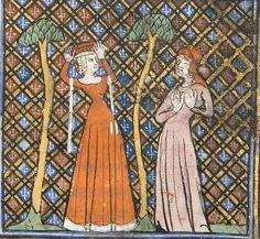 Le Roman de la Rose ca.1380 France. hat(s)? fur hat with lining?