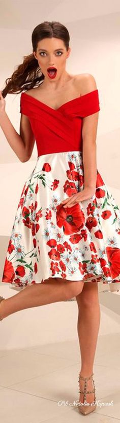 Moda Floral, Pink Geranium, Dressed To The Nines, Floral Fashion, Fashion Today, Red Poppies, Beautiful Dresses, Red And White, Celebrities