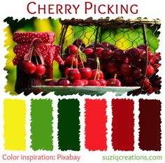 Sweet and luscious ripe cherries make a great summertime snack, whether it's at the beach, a picnic, or poolside. Bright red with a backdrop of grass green and sunny yellow make up the cheery, cherry color scheme.