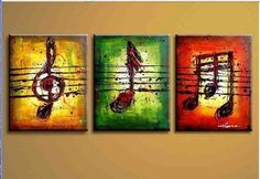 """MODERN ABSTRACT HUGE WALL ART OIL PAINTING ON CANVAS""""MUSIC"""" +GIFT (no frame) T01 in Arte, Directo del artista, Pinturas 