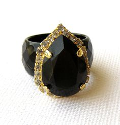 Black statement ring Black agate ring with by rebekajewelry