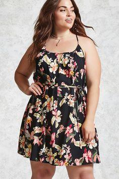 Plus Size Tropical Floral Dress