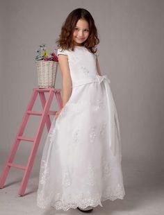 White Bridal Flower Girl Dresses with Short Sleeves