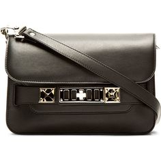 Proenza Schouler Black Leather PS11 Mini Classic Shoulder Bag ($1,560) ❤ liked on Polyvore featuring bags, handbags, shoulder bags, purses, leather man bags, mini purses, leather shoulder bag, man bag and handbags purses