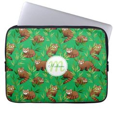 Red Panda & Bamboo Leaves Pattern Laptop Sleeve - baby gifts giftidea diy unique cute