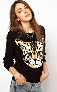 Cute Kitty Pattern Casual Knitwear Pullovers-16.90 FREE SHIPPING