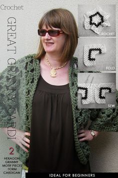 Two 6-pointed crochet motifs folded and seamed into one easy cardigan. DiaryofaCreativeFanatic