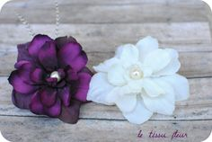 White and Plum Flower Fascinators - Set of 2 - With White Grizzly Feathers