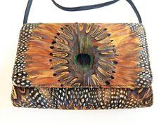 Comeco Peacock Feather Handbag Crossbody Bag by PiperRoseVintage
