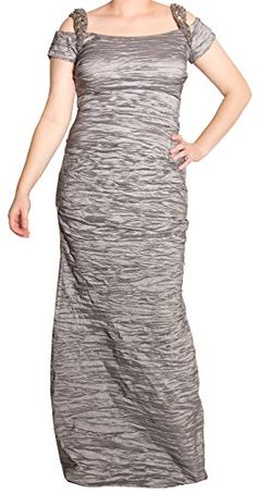 Alex Evenings Cold-Shoulder Embellished Crinkle Gown, (12) only $135 (was $209) #Formal #Crinkle #Gown #Silver