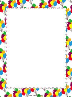 Big bunches of festive, colorful party balloons float along this free, printable border that is great for birthday parties. Free to download and print.