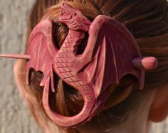 womens, Wood Dragon Hair Barrette Gift for Her, Hair Pin Stick, Carving, Mother of Dragons, game of thrones jewelry, Dungeons and Dragons