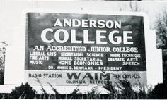 Anderson College, Anderson, SC from 1943