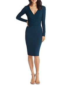 Dress the Population Drew Long Sleeve Dress - Pine Dresses For Work, Dresses With Sleeves, Illusion Dress, Dress The Population, Sheath Dress, Dresses Online, Fabric Design, Gowns, Long Sleeve