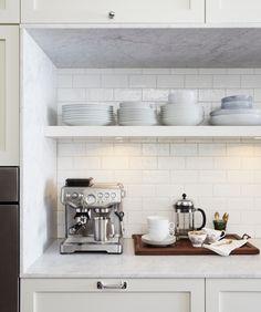 shelf for above espresso machine, over sized mug to store coffee plus a few mugs, espresso cups, etc