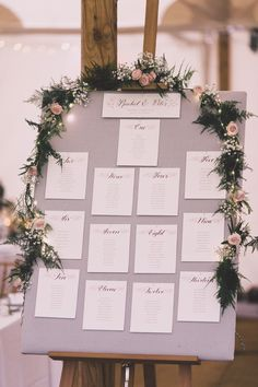 Table Plan with Floral Garland - Millar Cole Photography | Monique Lhuillier Candy Wedding Dress | Church Ceremony & Marquee Reception | Blush Pink BHLDN Bridesmaid Dresses