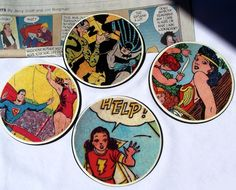 DIY Comic Book Coasters Made with Mod Podge - Mod Podge Rocks If you are looking for unique crafts for men, these DIY comic book coasters are perfect. Use materials right from the hardware store! Idées Mod Podge, Mod Podge Crafts, Geek Crafts, Fun Crafts, Magnets Crafts, Diy Christmas Gifts, Handmade Christmas, Comic Book Crafts, Comic Books