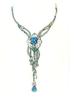 Tony FURION : Collier '' Narcisse Retrouvé '' joaillerie gouaché - dessin bijoux jewellery rendering
