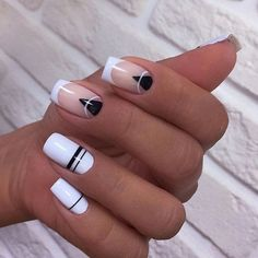 On average, the finger nails grow from 3 to millimeters per month. If it is difficult to change their growth rate, however, it is possible to cheat on their appearance and length through false nails. White Nails, Pink Nails, My Nails, Fall Nails, Stylish Nails, Trendy Nails, Nagellack Design, Short Square Nails, Short Nails