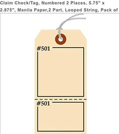 """Brought to you by Avarsha.com: <div><div>Claim Check/Tag, Numbered 2 Places, 5.75"""" x 2.875"""", Manila Paper,2 Part, Looped String, Pack of 100 (6201-6300)</div><ul><li>2 PART</li><li>LOOPED STRING</li><li>PACK OF 100</li><li>NUMBERED IN TWO PLACES (6201-6300)</li><li>CLAIM CHECK/TAG</li></ul><div>2 PART</div><div>LINTONCO</div></div>"""
