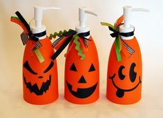 Cute gift idea. These start with orange soap dispensers. Be on the lookout or find an easy substitute