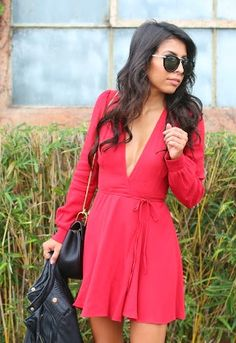 red reformation dress for holiday!