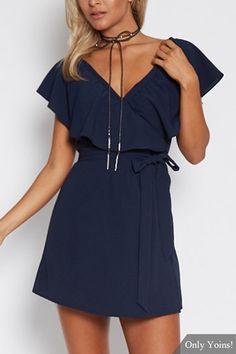 US$17.95 #Navy #V-Neck #Flounced #Design #Self-tie #Waist #Mini# Dress