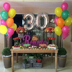 Party decorations for adults women birthday new Ideas 30th Party, 30th Birthday Parties, Anniversary Parties, Diy Party, Birthday Party Decorations, Ideas Party, 30 Birthday, Birthday Celebration, Birthday Ideas
