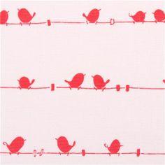 white Riley Blake bird on line tissu série animaux Enchant 1