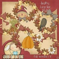 Fall Wreaths 1 - Clip Art by Primsy Doodle Designs