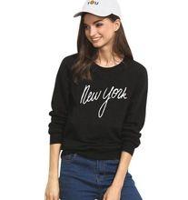 2016 autumn new arrival tracksuit women new york letter print round neck long sleeve hoodies fashion black sweatshirt(China (Mainland))