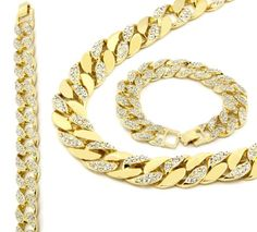 14k Gold Finish Iced Out Hip Hop Cz Chain & Bracelet Mens Miami Cuban Necklace L & L Nation http://www.amazon.com/dp/B00KCZA4OU/ref=cm_sw_r_pi_dp_2W80ub12EW101