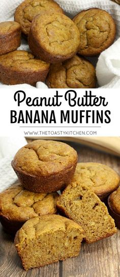 Peanut Butter Banana Muffins by The Toasty Kitchen - snacks - Banane Peanut Butter Banana Cookies, Healthy Peanut Butter, Peanut Butter Recipes, Die Peanuts, Banana Bread Muffins, Healthy Muffins, Healthy Snacks, Healthy Brunch, Cupcakes