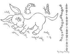Vintage Donny the Donkey embroidery transfer / pattern